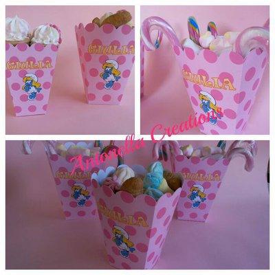 Box Pop corn per tavolo dolci - Puffi