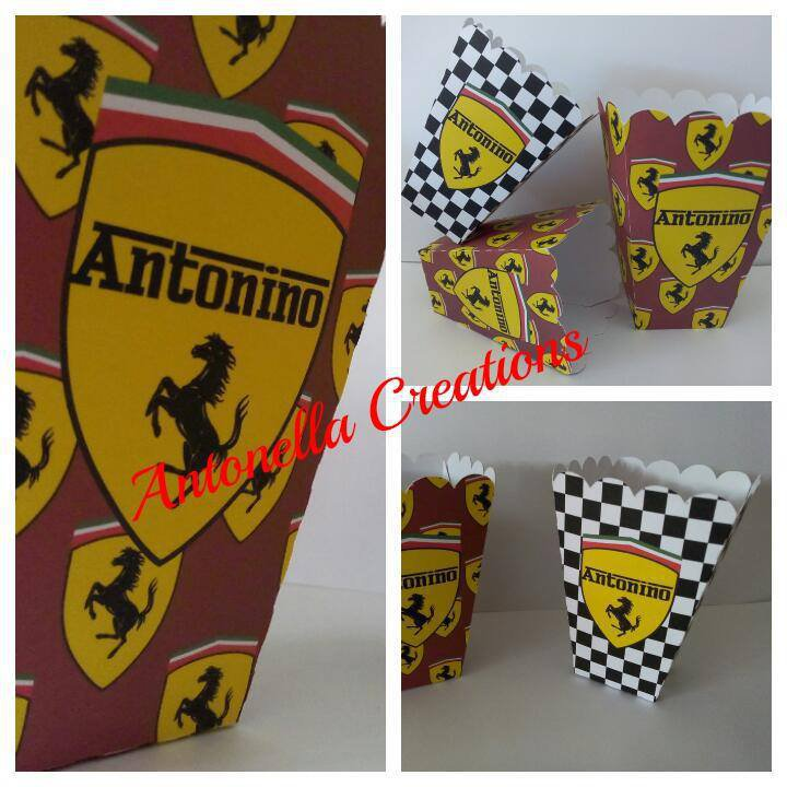 pop corn box per tavolo dolci - sweet table FERRARI