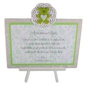 Targhetta con orsetto versione verde - regalo bomboniera madrina padrino Battesimo