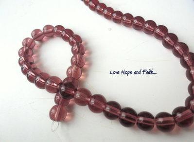 """LOTTO 10 perle in vetro color """"Rosa/fumè"""""""" (6 mm) (cod.11629)"""