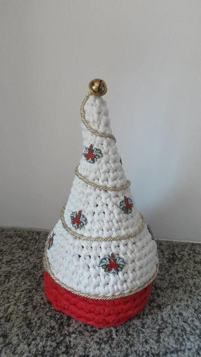 Scatola albero di natale in fettuccia bianco e rosso