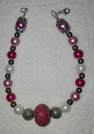 Bracciale con perle Viola e Simil-Corallo