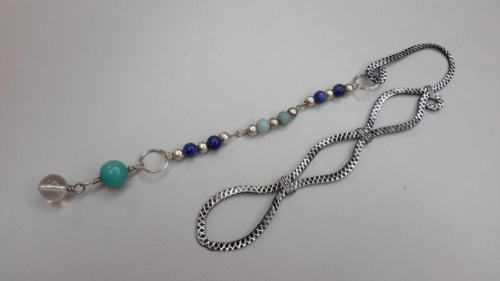 Segnibri wire con lapislazzuli e amazzonite