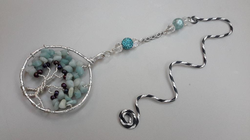 Segnalibro wire con pendente albero della vita, perla pavê di cristalli