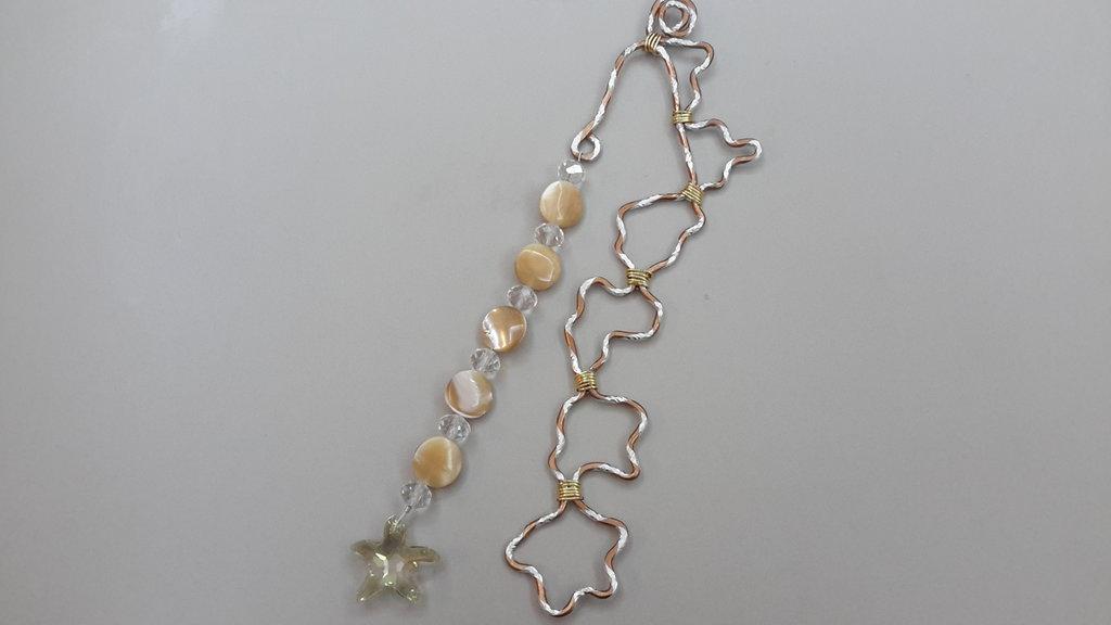 Segnalibri wire con madreperla e pendente in cristallo sw.
