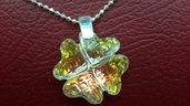 Collana argento 925 diamantata e ciondolo cuore quadrifoglio cristallo  sw