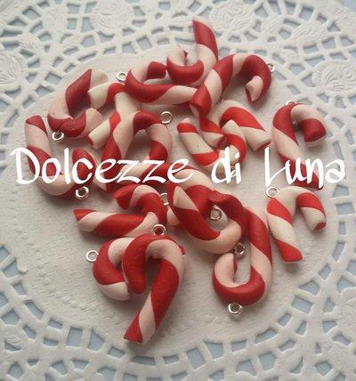 SPECIALE NATALE! bastone di zuccherro, candy,, fatto a mano, misura circa 2,5 cm per orecchini o bracciale