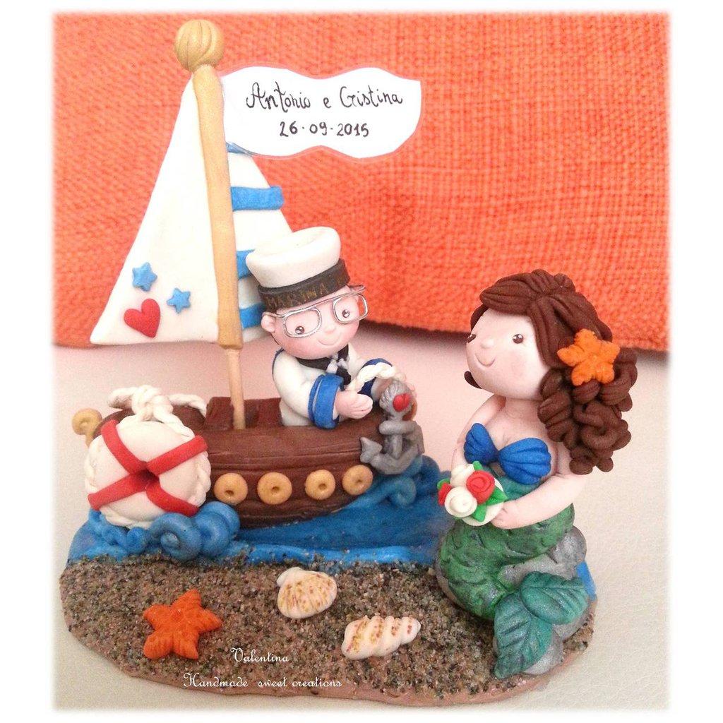 Cake topper marinaio e sirena