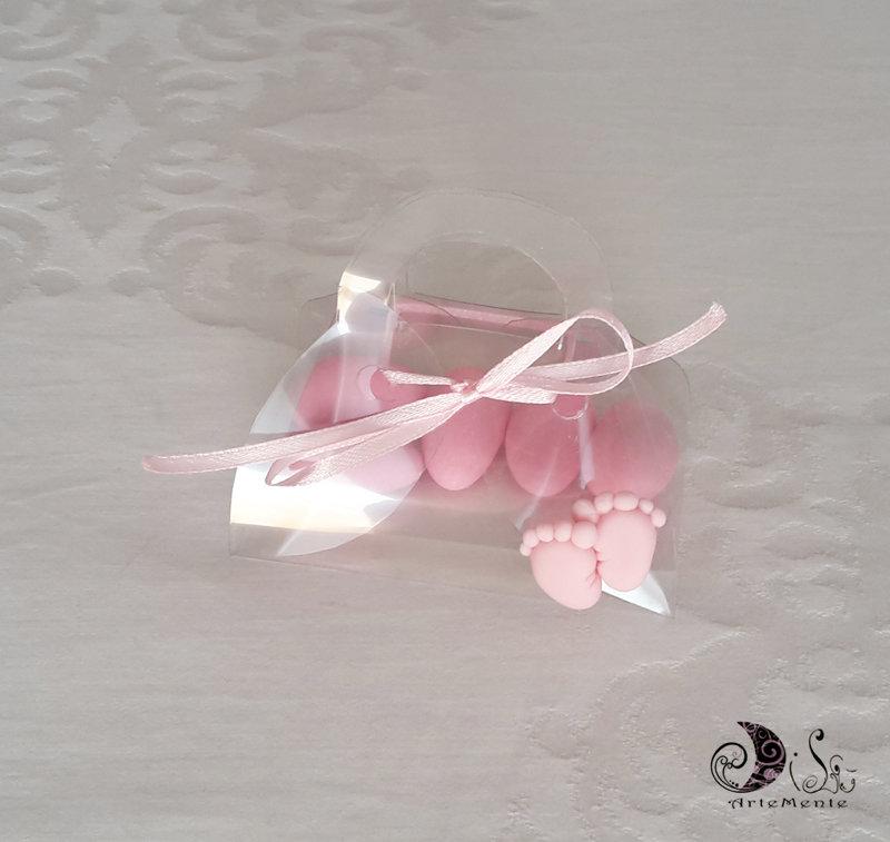 Bomboniera battesimo piedini portaconfetti per bimba o bimbo