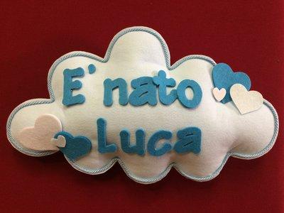Fiocco nascita nuvoletta azzurra