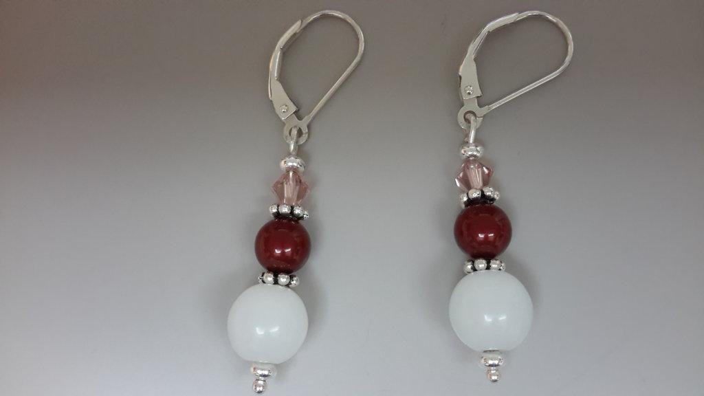 Orecchini a monachella in arg. 925 con perle e bicono cristallo sw e pietra di luna