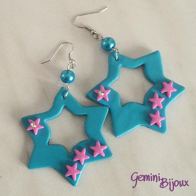 Orecchini fimo stelle azzurre e rosa con strass