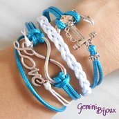 Bracciale multifile azzurro in corda con ancora, love, infinito e treccia