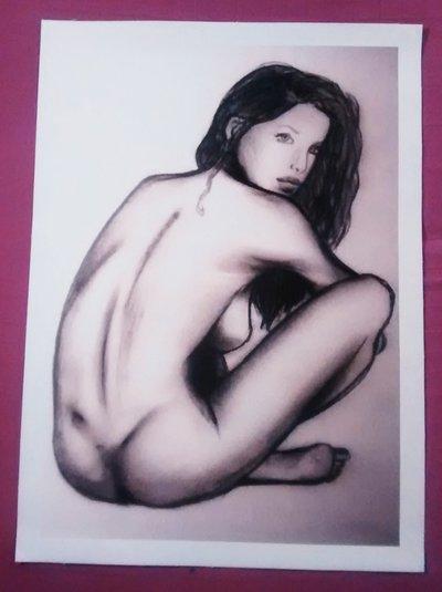 Stampa su tela,nudo di donna,pronta da incorniciare