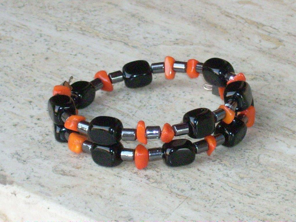 Bracciale bracciali agata nera corallo e ematite donna