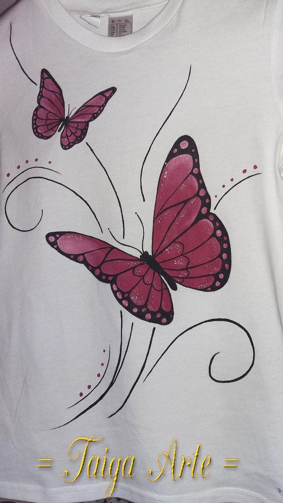 Maglietta Farfalle rosa con Glitter