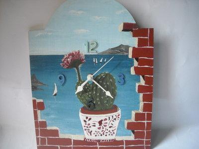 Orologio da parete decorato ad effetto trompe-l'oeil vista mare