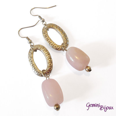 Orecchini con pietre dure di quarzo rosa