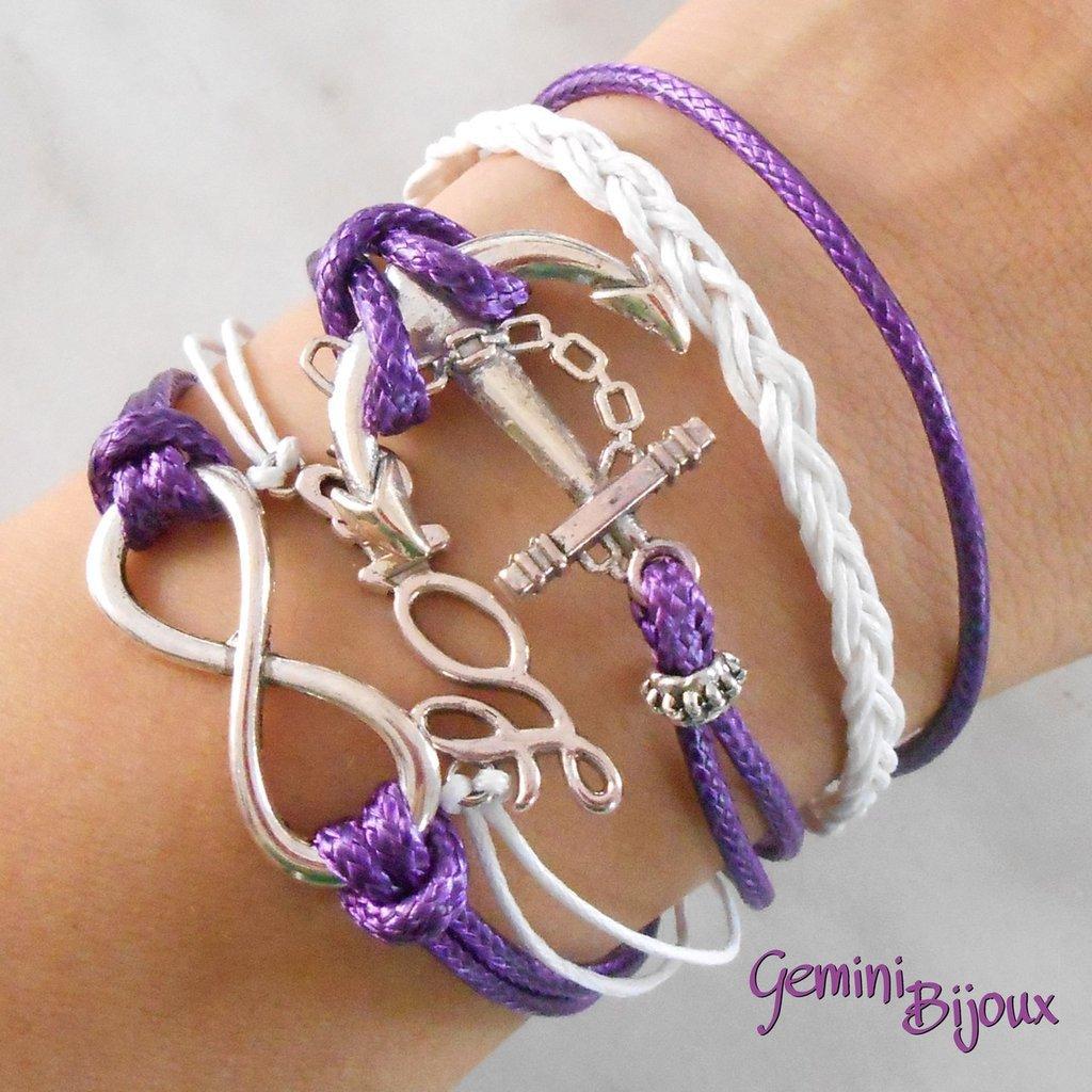 Bracciale multifile viola in corda con ancora, love, infinito e treccia