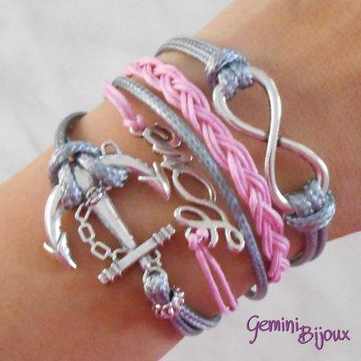 Bracciale multifile grigio e rosa in corda con ancora, love, infinito e treccia