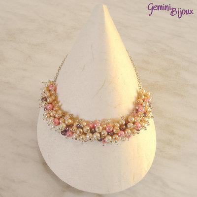 Collana di perle a grappolo avorio e rosa