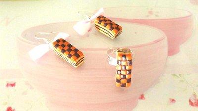 PARURE orecchini e anello  FIMO - merendina snack pane e ciok  - realistica kawaii  con fiocchetti ROSA