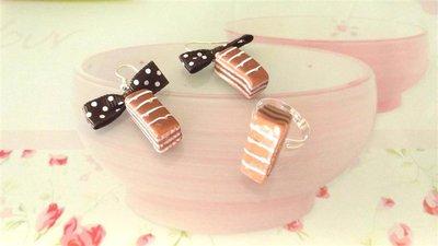 PARURE orecchini e anello  FIMO - merendina colazione piu cioccolato   - realistica kawaii con fiocchi marroni