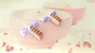 PAIO ORECCHINI  FIMO - merendina colazione piu cioccolato   - realistica kawaii con fiocchetti lilla
