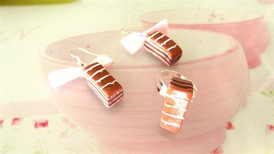 PARURE orecchini e anello  FIMO - merendina colazione piu cioccolato   - realistica kawaii con fiocchi lilla
