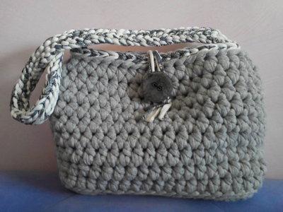 borsa in fettuccia grigio chiaro