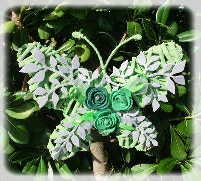 farfalla verde in vimini e fommy
