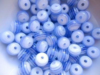 73pz - Lotto perla fine serie perle azzurro resina mm 7