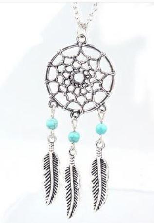 Collana acchiappasogni con perline azzurre e ciondoli piume in argento tibetano idea regalo Natale per lei