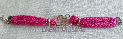 Inserzione privata per x M&M Cristina C.- Braccialetto Triccottin puzzle fucsia, marrone e blu
