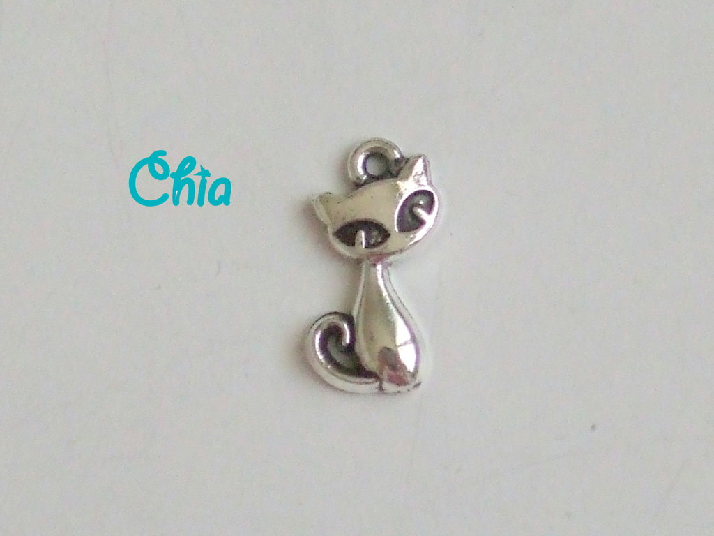 8 charms gatto 17x8mm
