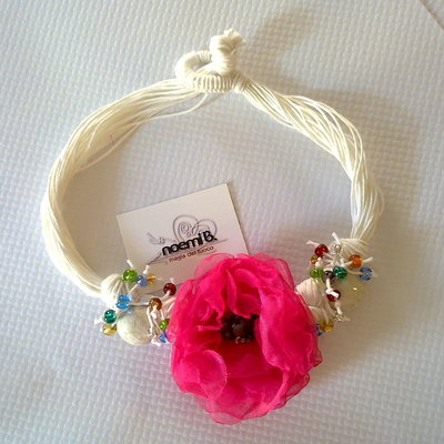 Collana fiore voile & raku