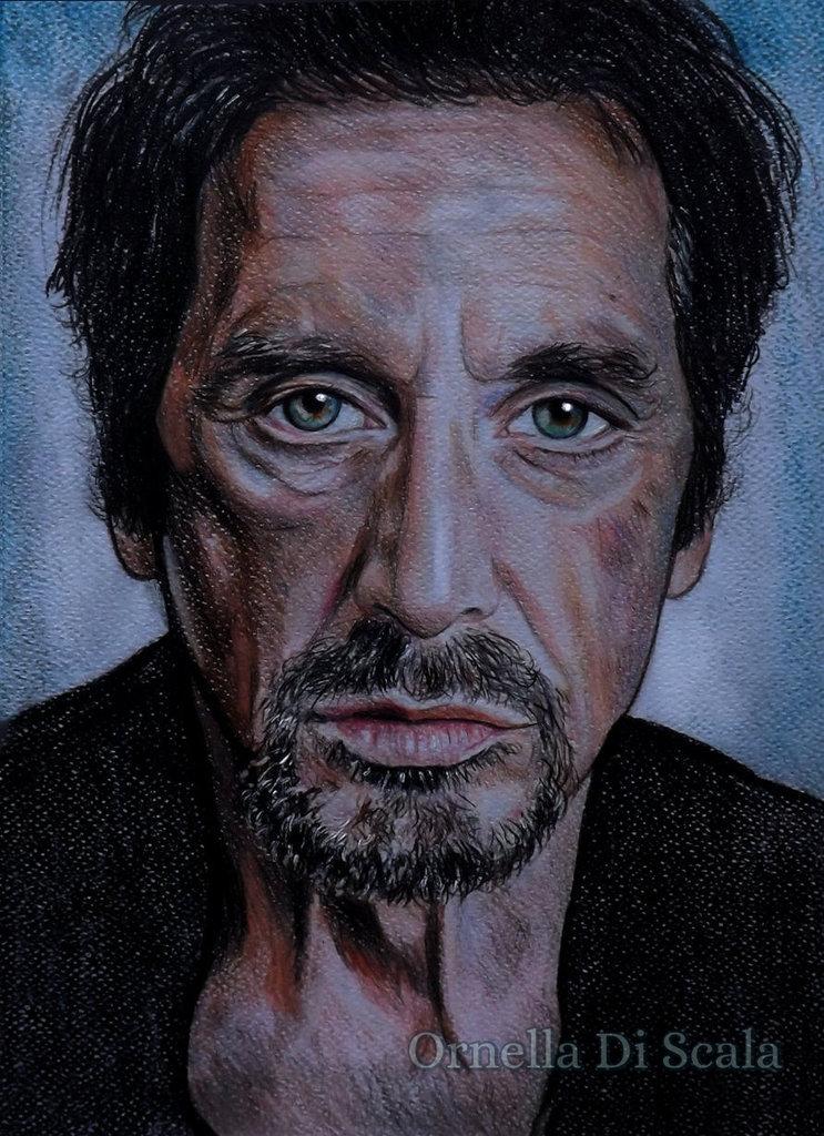 Ritratto Al Pacino pastelli su cartoncino disegnato a mano