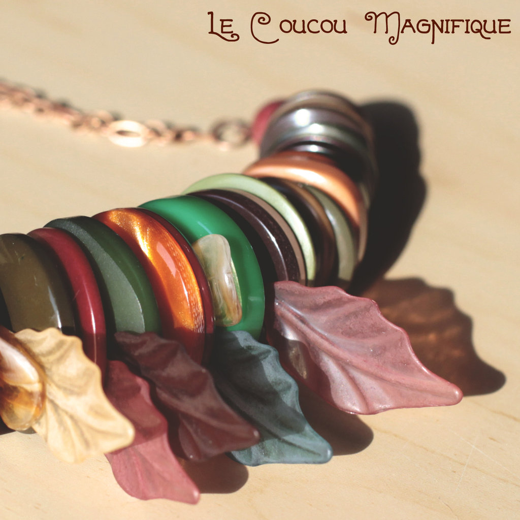 Collana con bottoni nei colori dell'autunno - C.43.15 - Linea Canada