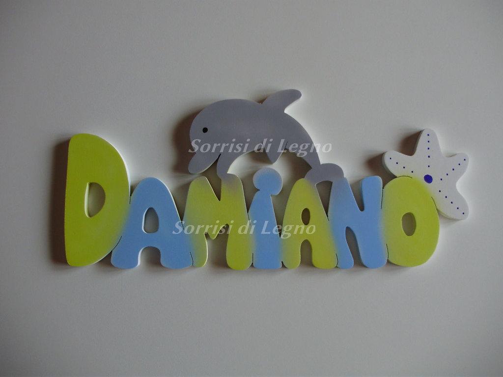 nome damiano in legno colorato da appendere bambini