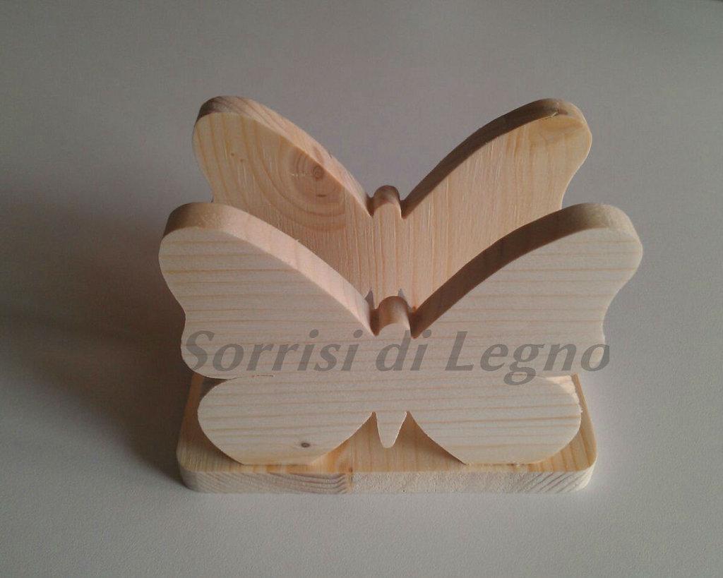 Portatovaglioli in legno a forma di farfalla in legno di pino