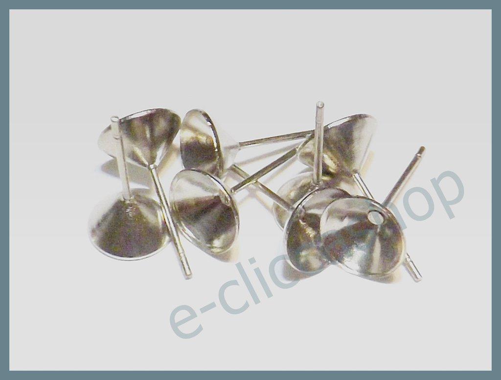 base orecchini a perno finale cono colore argento 20 pz