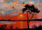 Dipinto marina mare tramonto paesaggio acrilico moderno