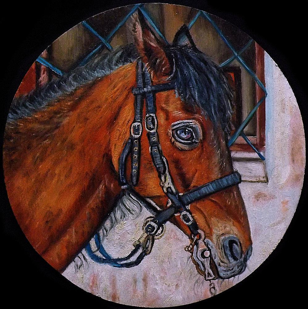 Quadro cavallo olio su tavola equitazione dipinto a mano