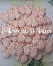 Piedini con cuoricino rosa , soggetto nascita per sacchettini o scatoline porta confetti fatto a mano 2,5 x 3 cm circa