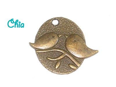 1 charm  medaglione uccellini 29 x25mm bronzo