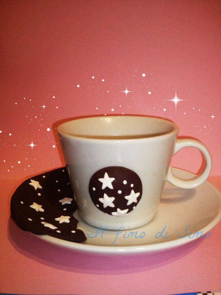 set tazzina con piattino da caffè decorata in fimo