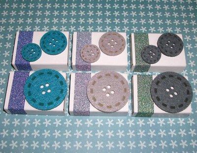 Lotto Scatoline SegnaPosto - Mini Bomboniera Porta Confetti per Battesimo e Baby Shower^^ - *ButtonFelt-Boy* (6pz)