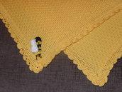 COPERTINA NEONATO A MAGLIA E UNCINETTO colore giallo