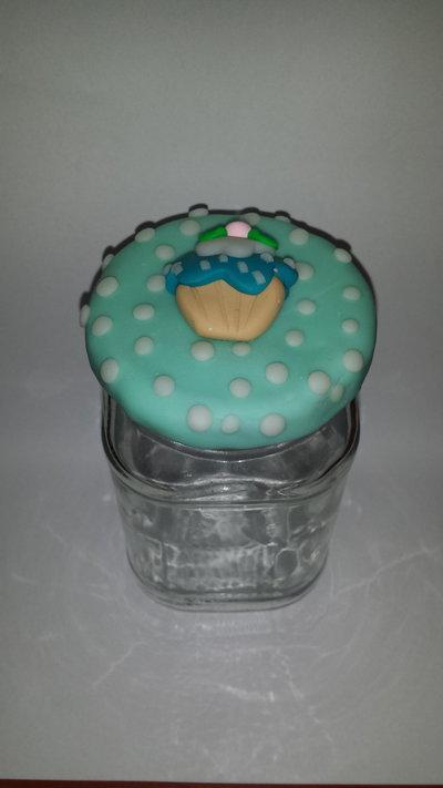 barattolo vetro decorato in fimo cupcake