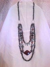 Collana argento 925 acquamarina ossidiana fiocco di neve e nera agata di fuoco